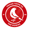 Frome Town Football Club logo - white robin on a red background