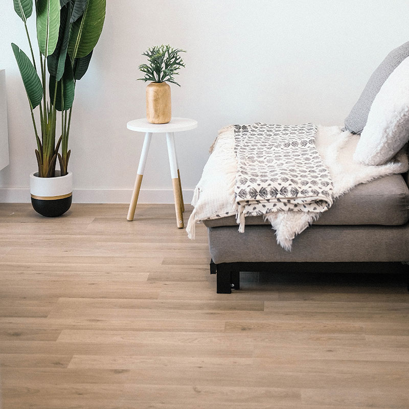 Detail of some vinyl flooring with a chair and plant stand