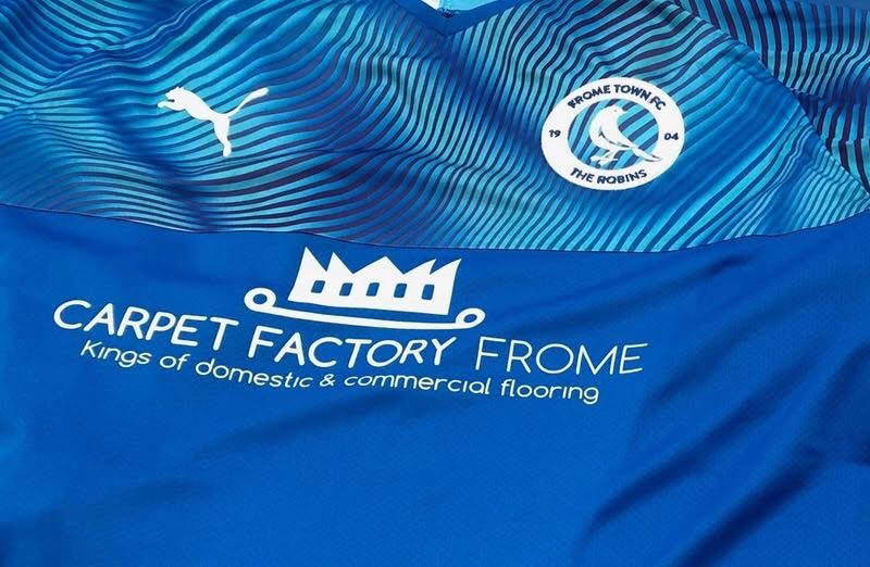 Frome Town FC shirt - sponsored by Carpet Factory Frome