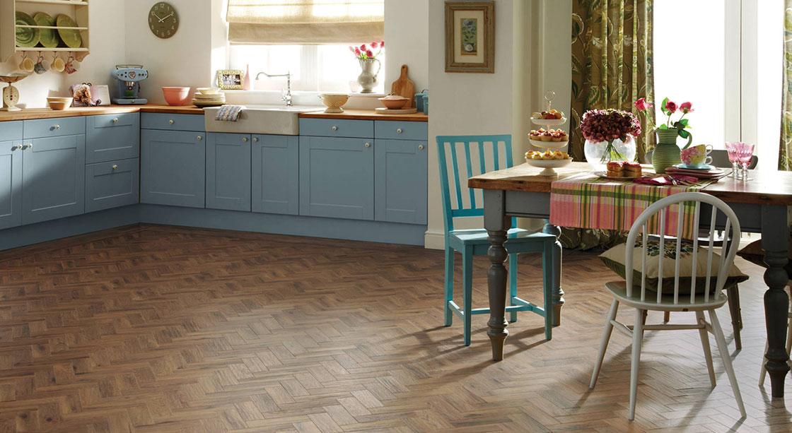 Kitchen with Karndean oak parquet flooring