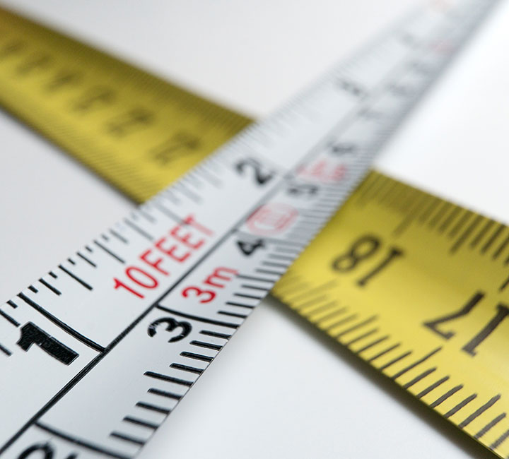 Tape measure strips - close up of numbers and measurements