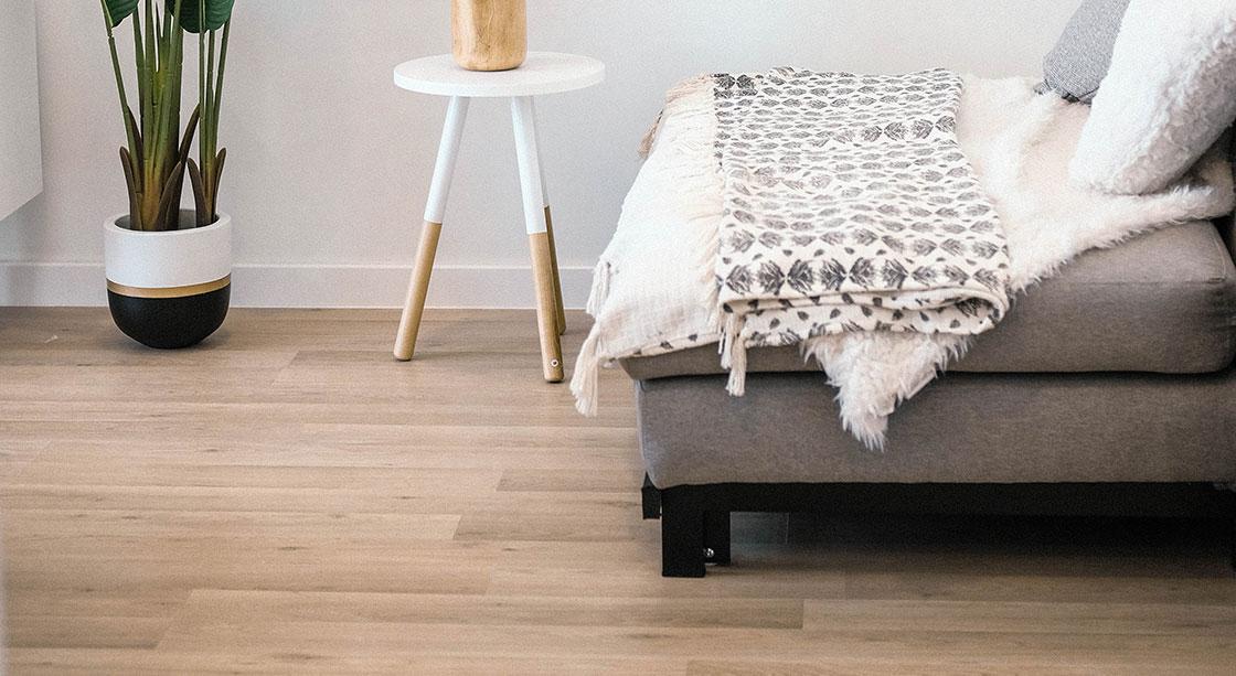 Designer lounge with vinyl wood-look flooring