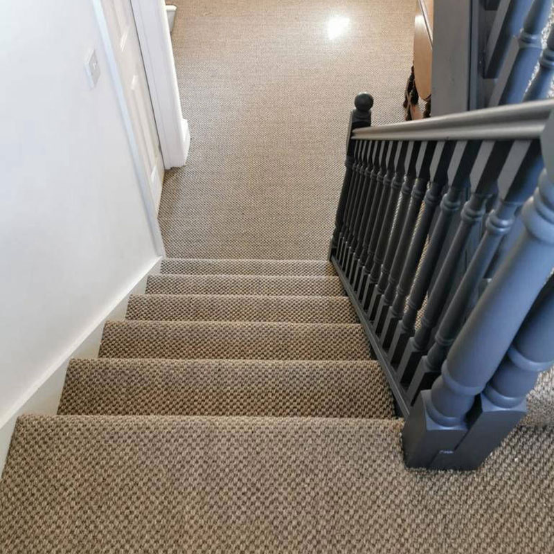 Neatly fitted stair carpet by Carpet Factory Frome