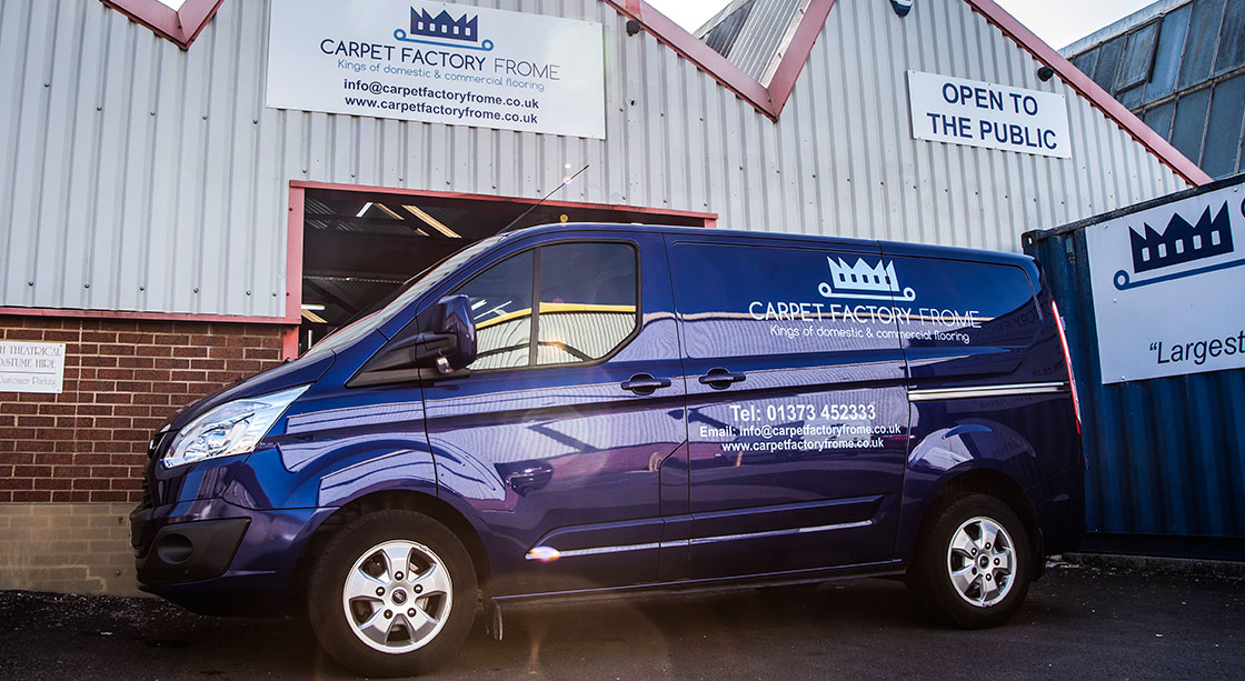 Carpet Factory Frome's flagship van outside the Frome warehouse